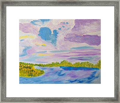 Framed Print featuring the painting Clouds' Reflections by Meryl Goudey