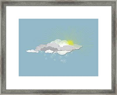 Clouds, Sun And Snowflakes Framed Print