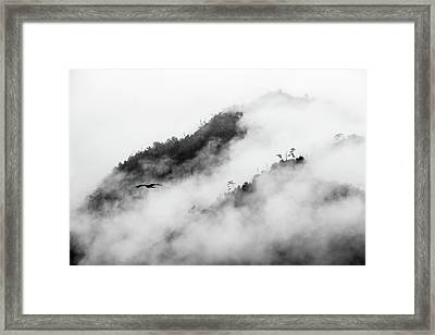 Clouds Surrounding Mountains Framed Print by Ruben Sanchez Photography