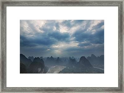 Cloudy Sunset In Guilin Guangxi China Framed Print