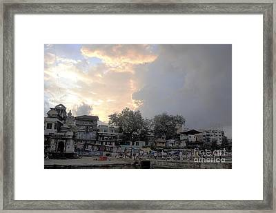 Cloudy Village Scene In India Framed Print