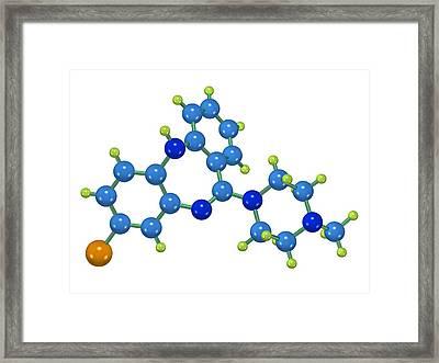 Clozapine Antipsychotic Drug Molecule Framed Print by Dr Mark J. Winter