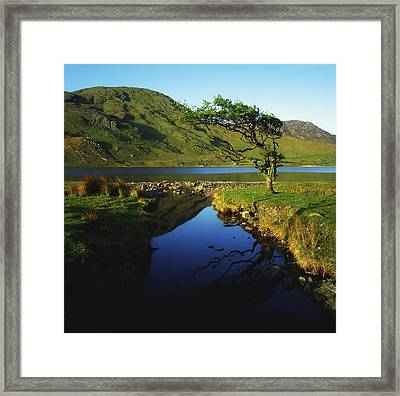 Co Galway, Kylemore Lough, Benbaun Framed Print by The Irish Image Collection