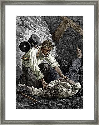 Coal Mine Rescue, 19th Century Framed Print