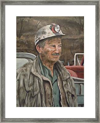 Framed Print featuring the painting Coal Miner At Isabella Mine by James Guentner