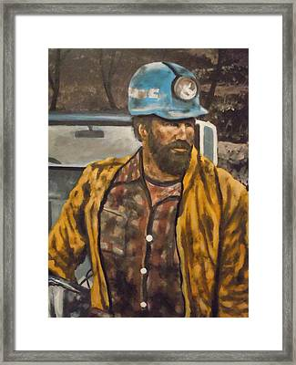 Framed Print featuring the painting Coal Miner At Mariana Mine by James Guentner