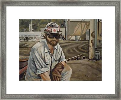 Framed Print featuring the painting Coal Miner At Vestaburg Mine by James Guentner