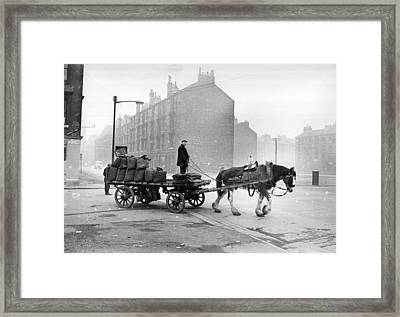 Coalman And Cart Framed Print by Albert McCabe
