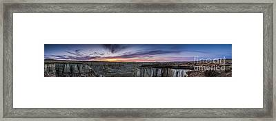 Coalmine Canyon Panoramic Sunset Framed Print by Darcy Michaelchuk