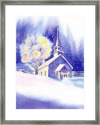 Coastal Church Christmas Framed Print by Joseph Gallant
