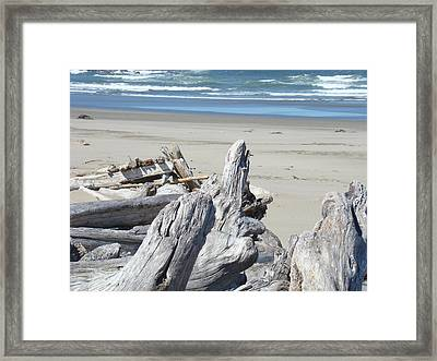 Coastal Driftwood Art Prints Blue Waves Ocean Framed Print by Baslee Troutman