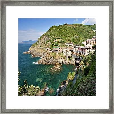 Coastal Railway Tunnel In Italian Village Framed Print by Wx Photography