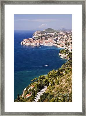 Coastal View Of The Old Town Of Dubrovnik Framed Print by Jeremy Woodhouse
