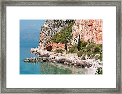 Coastline Of Greece Framed Print by Shirley Mitchell