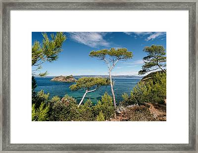 Coastline Of Port-cros Island , France Framed Print by Patrice Hauser