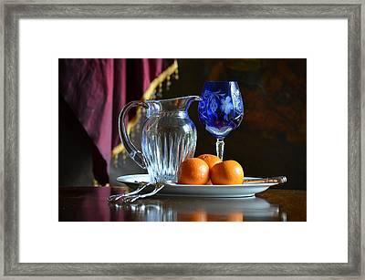 Cobalt And Orange Framed Print