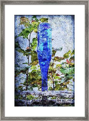 Cobalt Blue Bottle Triptych 1 Of 3 Framed Print by Andee Design