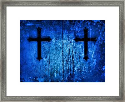 Cobalt Blue Cross Duo Framed Print by Tony Grider