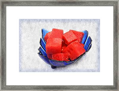 Cobalt Blue Watermelon Boat Framed Print by Andee Design