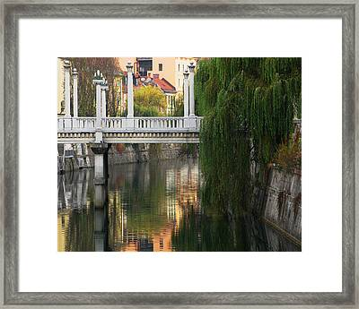 Cobblers Bridge And Morning Reflections In Ljubljana Framed Print by Greg Matchick