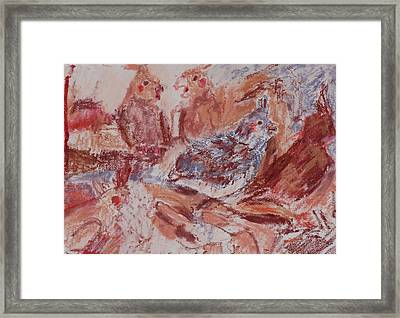 Cockatiels In Lipstick Framed Print by Iris Gill