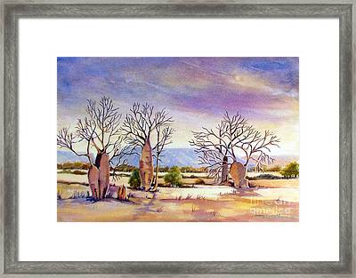 Cockburn Range With Boab Trees In The Kimberley Wa Framed Print by Audrey Russill