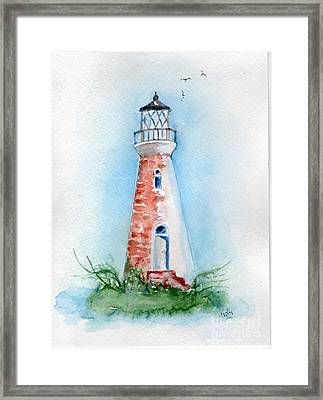 Framed Print featuring the painting Cockspur Lighthouse 2 by Doris Blessington