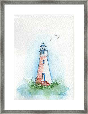 Framed Print featuring the painting Cockspur Lighthouse by Doris Blessington