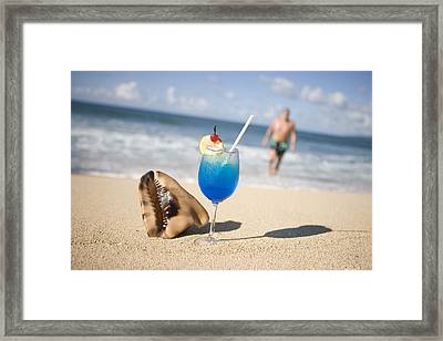 Cocktail And Shell On Beach Near Maca Bana Villas, Point Salines, St George, Grenada, Central America & The Caribbean Framed Print by Holger Leue