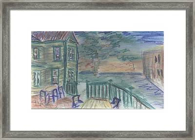 Framed Print featuring the pastel Cocktails On Court St by Denny Morreale