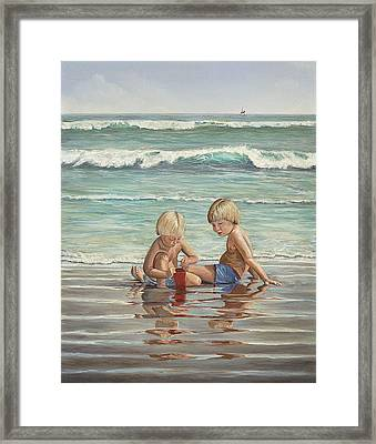 Framed Print featuring the painting Cocoa Beach Sandcastles by AnnaJo Vahle