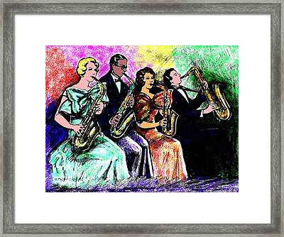 Coed Sax Section Framed Print by Mel Thompson