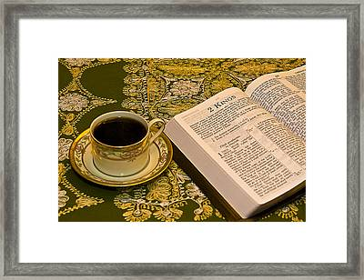 Coffee And Bible Framed Print by Trudy Wilkerson