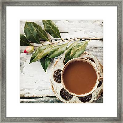 Coffee And Camellia Framed Print by Kim Fearheiley