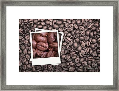 Coffee Beans Polaroid Framed Print