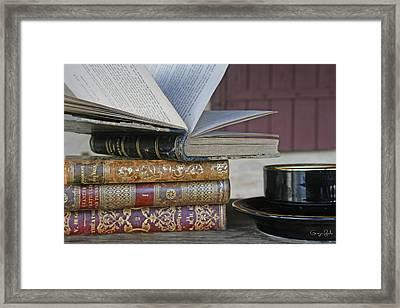 Coffee Break With Books Framed Print by Georgia Fowler