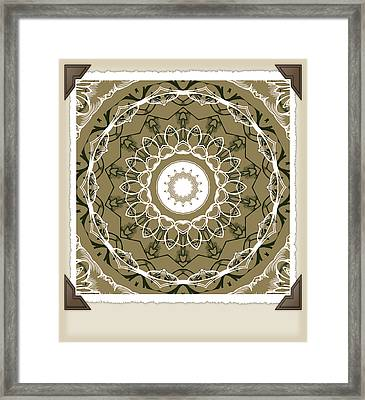 Coffee Flowers 1 Olive Medallion Scrapbook Framed Print by Angelina Vick