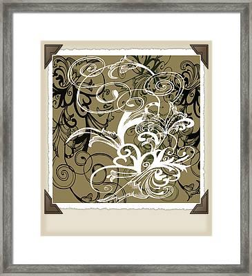 Coffee Flowers 1 Olive Scrapbook Framed Print