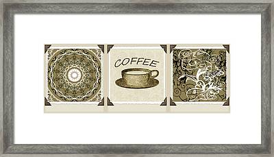 Coffee Flowers 1 Olive Scrapbook Triptych Framed Print by Angelina Vick