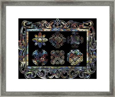 Coffee Flowers Ornate Medallions 6 Piece Collage Aurora Borealis Framed Print by Angelina Vick