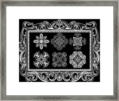 Coffee Flowers Ornate Medallions Bw 6 Piece Collage Framed  Framed Print by Angelina Vick