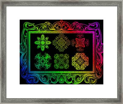 Coffee Flowers Ornate Medallions Color 6 Piece Callage 1 Framed Print by Angelina Vick