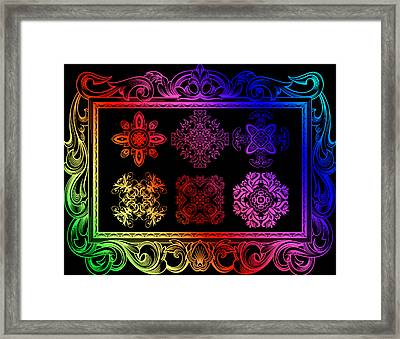 Coffee Flowers Ornate Medallions Color 6 Piece Collage 2 Framed Print