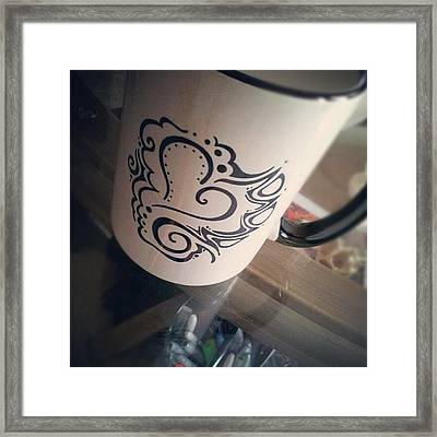 #coffee #heart #abstract #sharpie Framed Print