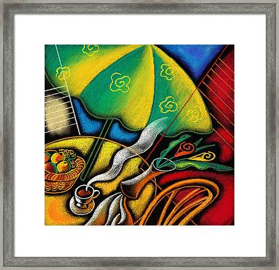 Coffee On A Patio Framed Print by Leon Zernitsky