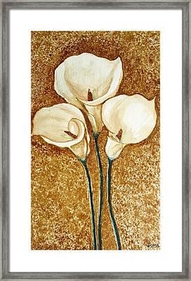 Coffee Painting - Flowers Framed Print by Rejeena Niaz