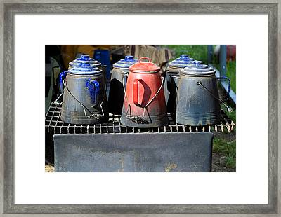 Framed Print featuring the photograph Coffee Pots by Jim  Arnold