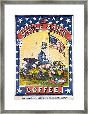Coffee, Uncle Sams Coffee, Illustrated Framed Print by Everett