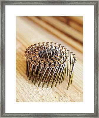 Coiled Framing Nails Framed Print by Skip Nall