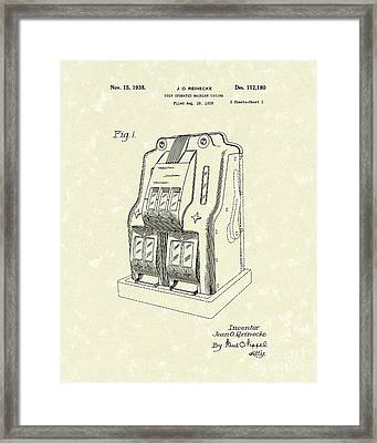 Coin Operated Casino Machine 1938 Patent Art Framed Print by Prior Art Design
